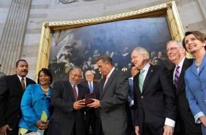 Lonnie Bunch, Carl Levin, John Boehner, Marcia Fidge, Harry Reid, Mitch McConnell, Nancy Pelosi