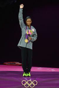 US gymnast Gabrielle Douglas celebrates