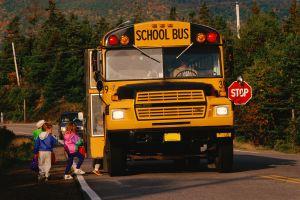 Children entering school bus