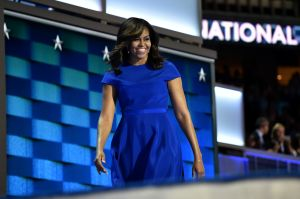 PHILADELPHIA, PA - JULY 25: First Lady Michelle Obama takes the