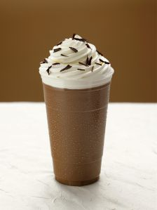Tall Glass of Iced Hot Chocolate with Whipped Cream and Chocolate Shavings