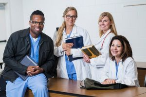 Multiracial group of doctors and medical interns